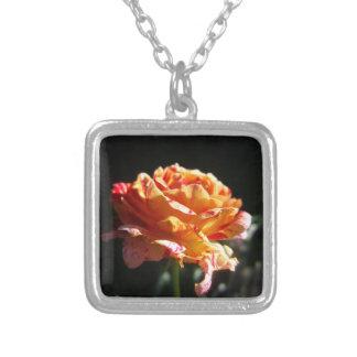 美しい三色のバラ、銀はスクエアネックレスの地図をつくります シルバープレートネックレス