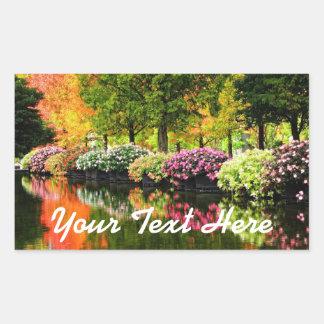 美しい公園のカラフルの花の秋の木の池 長方形シール