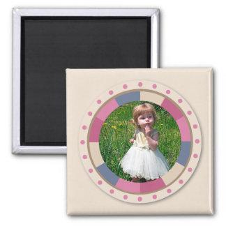 美しい円フレーム-軽いベージュ色の「ベージュ色バラ」 マグネット