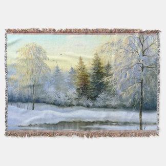 美しい冬の絵画によって編まれるブランケット スローブランケット
