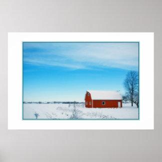 美しい冬の農場ポスター ポスター