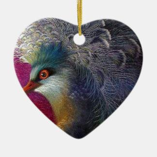 美しい刺繍フェニックス 陶器製ハート型オーナメント