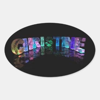 美しい単語- 3Dライトのクリスティーン 楕円形シール