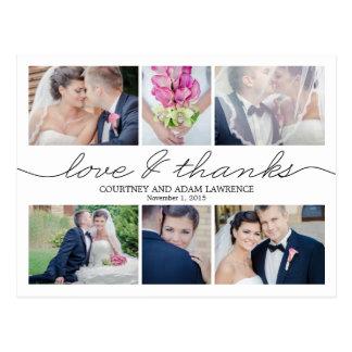 美しい執筆結婚式のサンキューカード-白