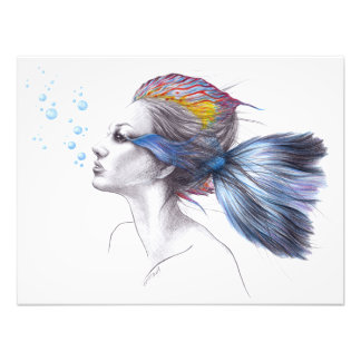 美しい女性の魚の超現実的な芸術の写真のプリント フォトプリント