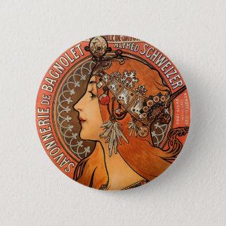 美しい女性プロフィール-ミュシャ 缶バッジ