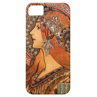 美しい女性プロフィール-ミュシャ iPhone SE/5/5s ケース