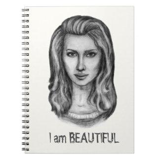 美しい女性。 鉛筆画 ノートブック