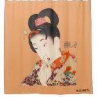美しい女性Japanese Print 4 Toyohara Chikanobu シャワーカーテン