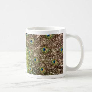 美しい孔雀および尾羽のプリント コーヒーマグカップ