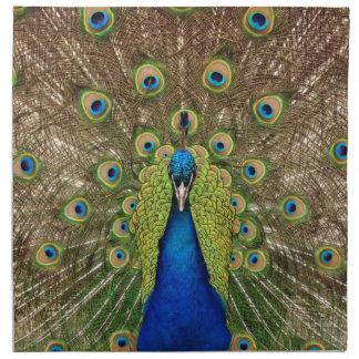 美しい孔雀および尾羽のプリント ナプキンクロス