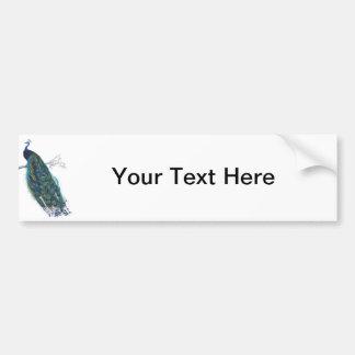 美しい尾羽を持つ青い孔雀 バンパーステッカー