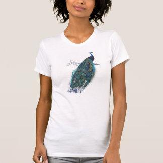 美しい尾羽を持つ青い孔雀 Tシャツ