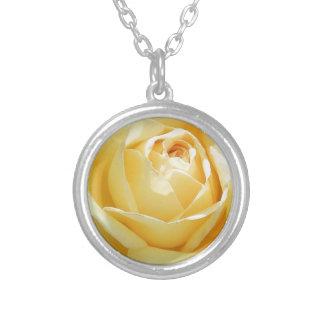 美しい展開の黄色バラ シルバープレートネックレス