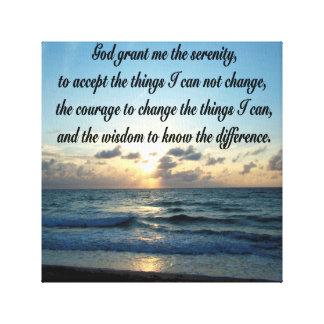 美しい平静の祈りの言葉の海の写真 キャンバスプリント
