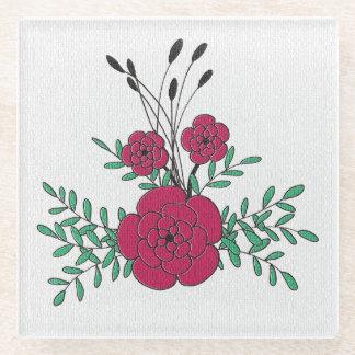 美しい手描きの赤い緑の花のboutineer ガラスコースター