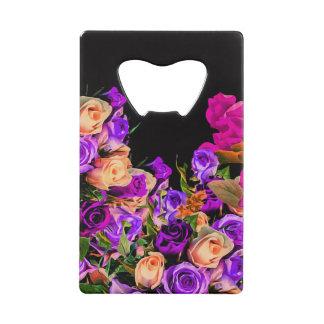 美しい抽象芸術の花の黒い背景 ウォレット 栓抜き