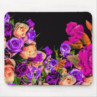 美しい抽象芸術の花の黒い背景 マウスパッド