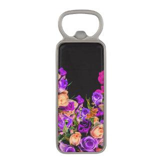 美しい抽象芸術の花の黒い背景 マグネット栓抜き