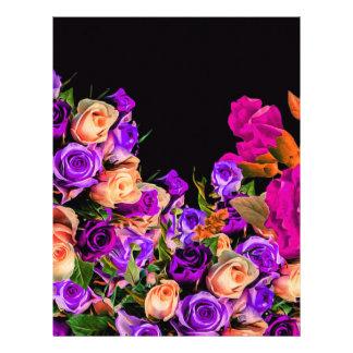 美しい抽象芸術の花の黒い背景 レターヘッド