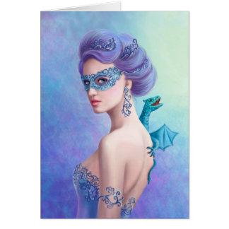 美しい挨拶状のファンタジーの冬の女性 カード