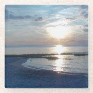 美しい日没場面の正方形のガラスコースター ガラスコースター