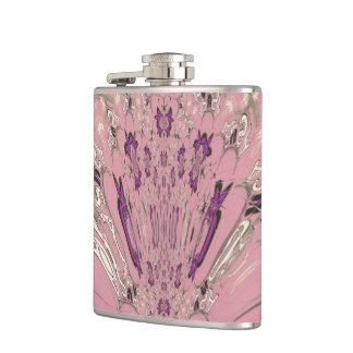 美しい明るいピンクの紫色の陰のモチーフのモノグラム フラスク