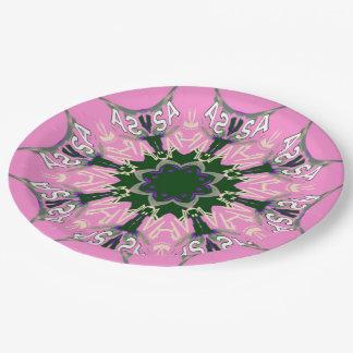 美しい明るいピンクの紫色の陰のモチーフのモノグラム ペーパープレート