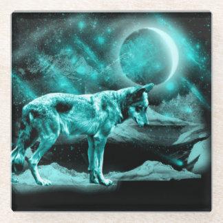 美しい明るく青いオオカミ ガラスコースター