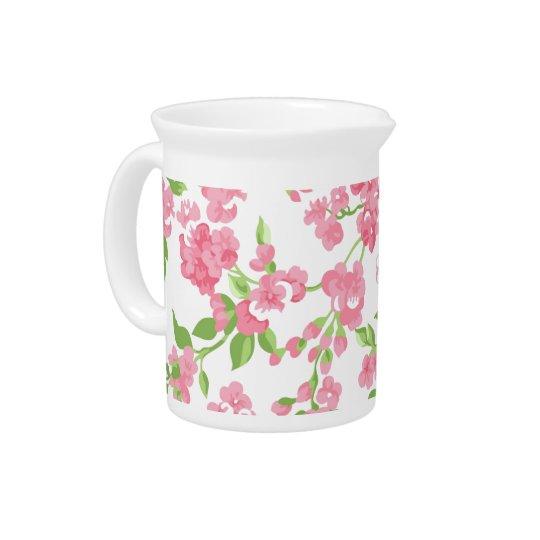 美しい春のピンクの水彩画のモモの花 ピッチャー