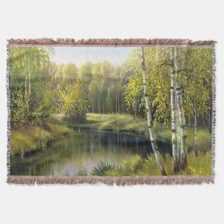 美しい春の絵画によって編まれるブランケット スローブランケット