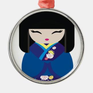 美しい東洋の中国ので日本のな人形 メタルオーナメント