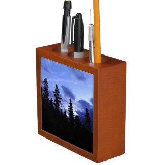 美しい森林夜空の机のオルガナイザー ペンスタンド