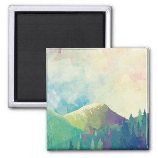 美しい森林景色-水彩画の芸術 マグネット