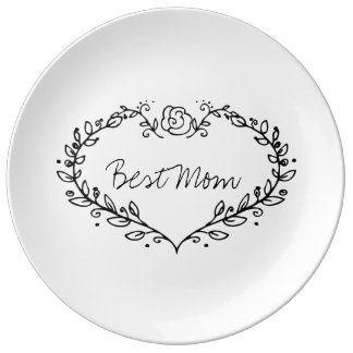 美しい母の日のギフト! 最も最高のなお母さんのハートの花輪 磁器プレート