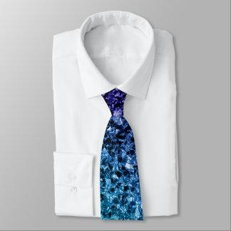美しい水の青くグラデーションなグリッターの輝き ネクタイ