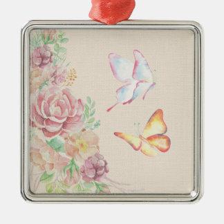 美しい水彩画の花および蝶 メタルオーナメント