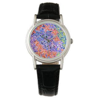 美しい水彩画の花のクラシックな腕時計 ウオッチ