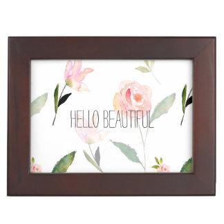 美しい水彩画の花柄 ジュエリーボックス