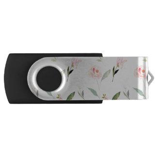 美しい水彩画の花柄 USBフラッシュドライブ