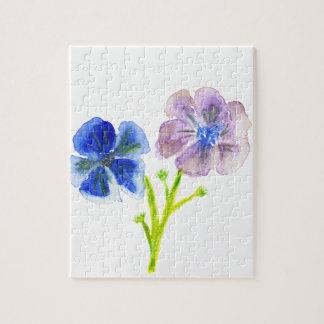 美しい水彩画の青および紫色のアネモネ ジグソーパズル