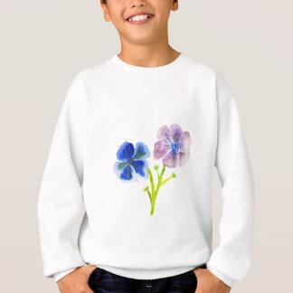美しい水彩画の青および紫色のアネモネ スウェットシャツ