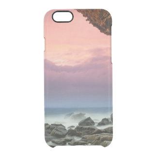 美しい海のピンクの薄暗がりの空の写真のヒップスターのビーチ クリアiPhone 6/6Sケース