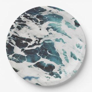 美しい海洋波の海の自然の青海原 ペーパープレート