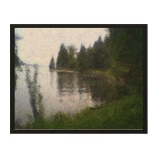 美しい湖のデザイン: デジタル式に変えられた写真 ウッドウォールアート