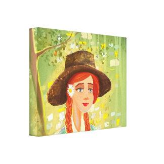 美しい漫画の女の子によって伸ばされるキャンバス キャンバスプリント
