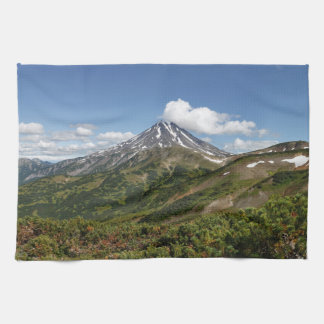 美しい火山景色の夏のパノラマ キッチンタオル