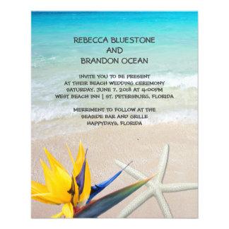 美しい熱帯海の海岸の結婚式の紙 チラシ
