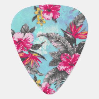 美しい熱帯花のペンキの水彩画 ギターピック
