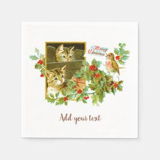 美しい猫ちゃんおよびロビン|のかわいいヴィンテージのクリスマス スタンダードカクテルナプキン